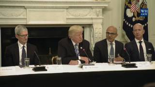Google,Jeff Bezos, Tim Cook Meet with Pres. #Trump to Talk Cybersecurity, Immigration