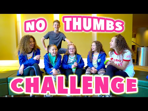 Thumbnail: No Thumbs Challenge! (MattyBRaps vs Haschak Sisters vs Sarah Grace!)