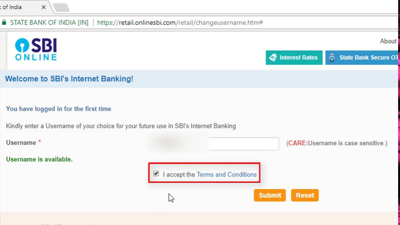 internet banking sbi first login