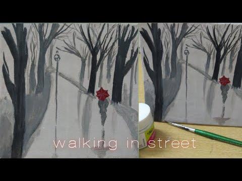 Mini canvas painting/acrylic painting/easy painting idea/tree art