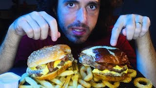 NEW DOUBLE PRETZEL BACON KING VS. BACON KING | Burger King Mukbang | Nomnomsammieboy