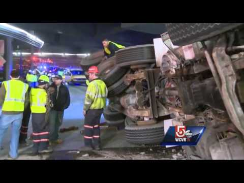 Cement truck crashes inside Mass Pike tunnel