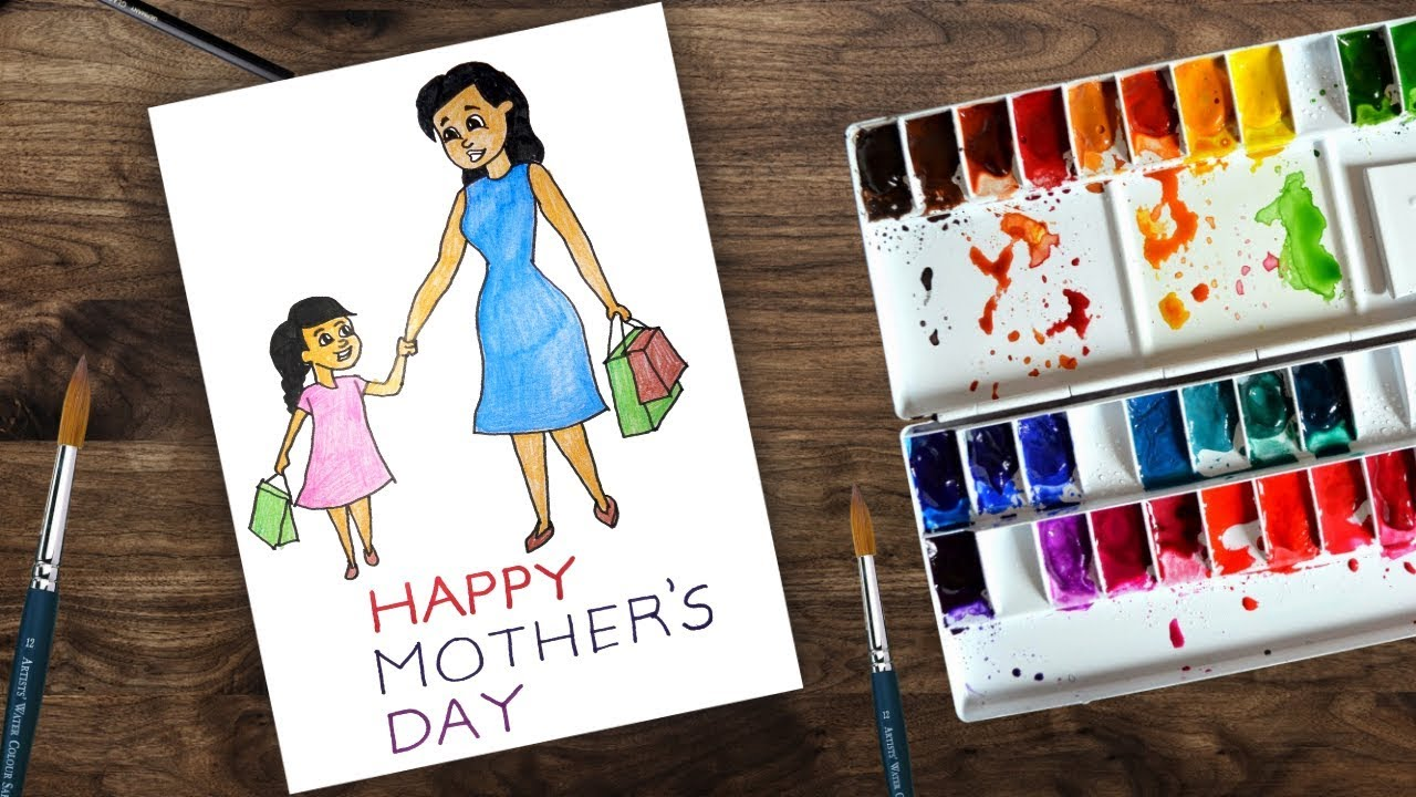 Mother S Day Drawing How To Draw Mom And Daughter Youtube