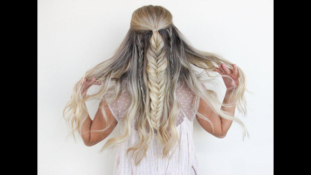Half Up Half Down Hairstyle Fishtail Into Pull Through Braid Esme Hairstyles Magazine Fish Tail Braid Fish Tail Braid Tutorial Cute Hairstyles For Teens