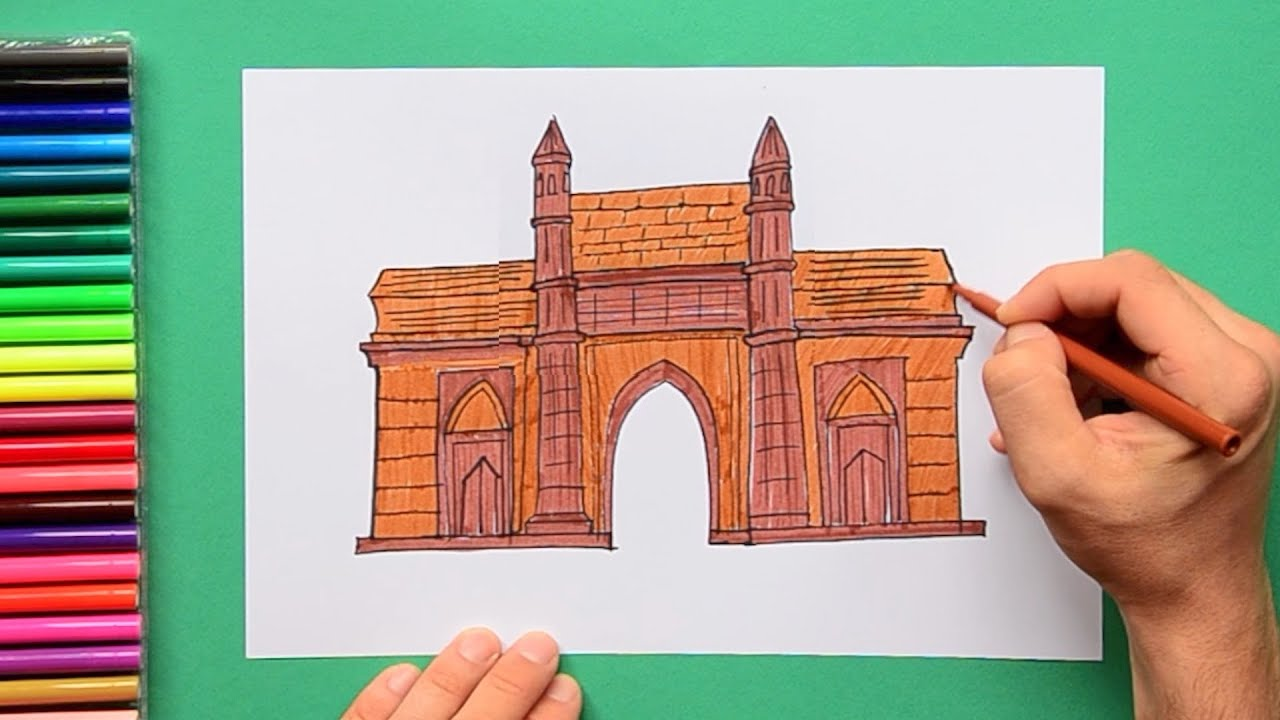 How to draw the Gateway Of India, Mumbai