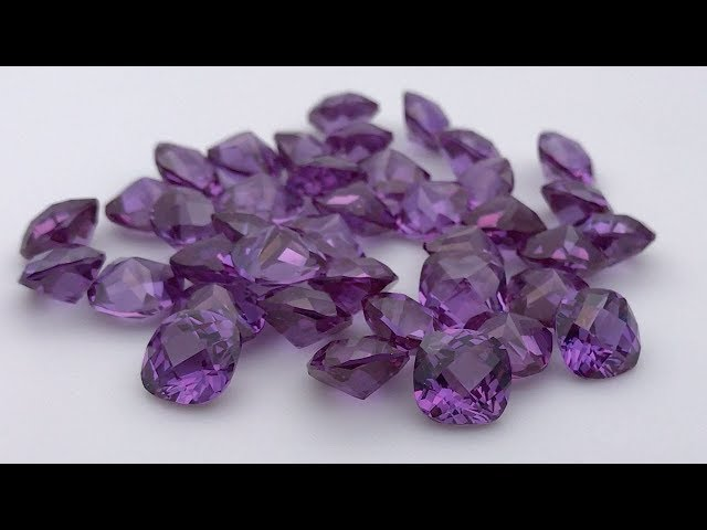 Synthetic Alexandrite color change cushion shape checkerboard cut gemstones