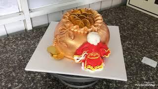 Cách làm bánh kem hủ vàng & ông Thần Tài. Cake and class