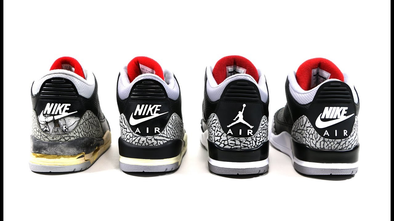 newest 050c0 58d59 Comparison - Air Jordan 3 III Retro Black Cement (1994 vs 2001 vs 2011 vs  2018)
