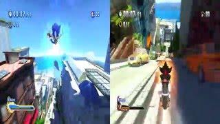 Sonic Generations split screen Sonic vs Shadow City Escape (60fps)