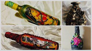 Four bottle decoration ideas/ bottle art/ altered bottle