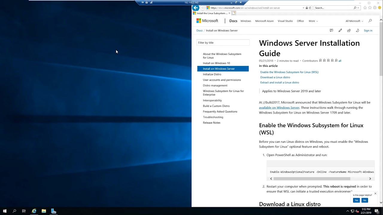 Installing and Enabling Linux Subsystem: Windows Server 2019