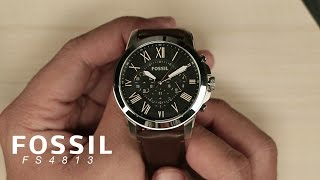 [What's Inside The Box?] Fossil FS4813 Grant Chronograph Black Dial Brown Leather Strap Watch