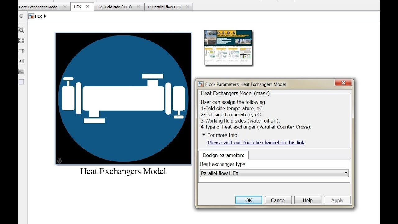Heat Exchangers Matlab/Simulink model run