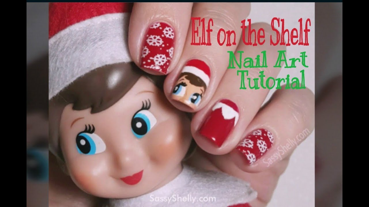 Elf On The Shelf - Holiday Nail Art Tutorial! - YouTube