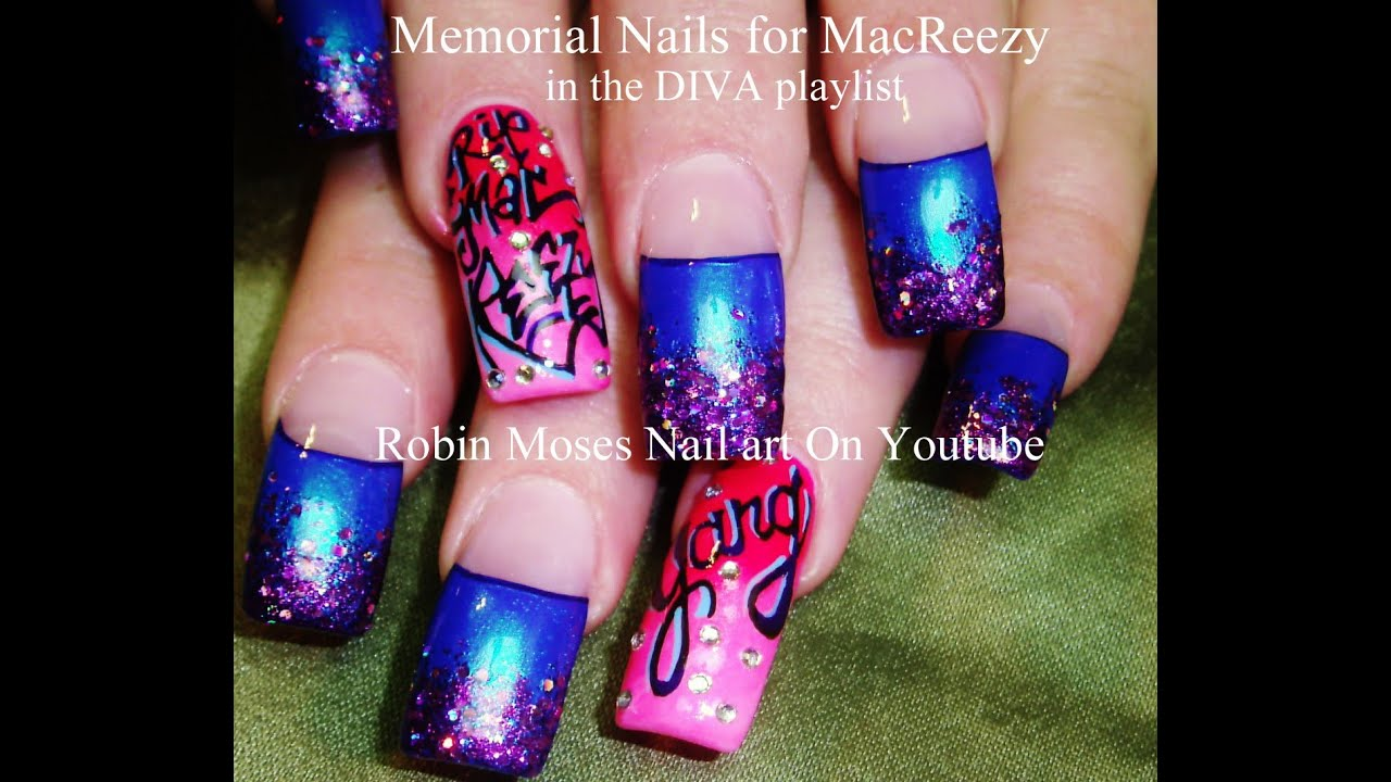 How to do memorial nail art pink and blue glitter gradient nail how to do memorial nail art pink and blue glitter gradient nail design tutorial youtube prinsesfo Gallery