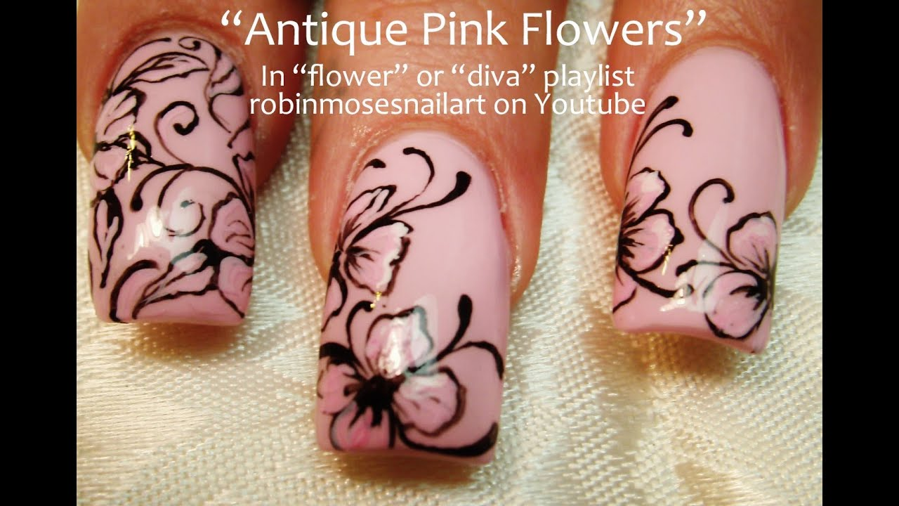Easy pink flower with black filigree nail art design tutorial long youtube premium mightylinksfo