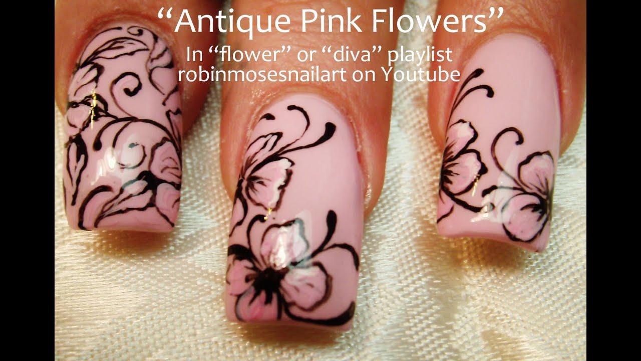 Nails Art: Easy Pink Flower With Black Filigree Nail Art Design