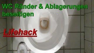 Toilettenränder & Urinstein beseitigen - Toilette reinigen Haushaltstipps - WC wieder weiß bekommen