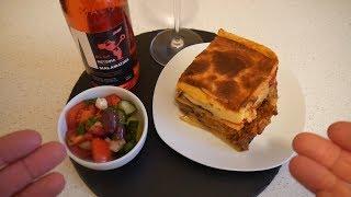 Greek Food Taste Test | Moussaka / Mousakas & Retsina (rosé) | Food & Drink