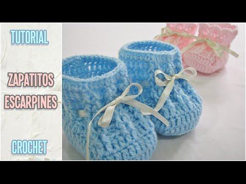 Escarpines a crochet para bebe recien nacido paso a paso