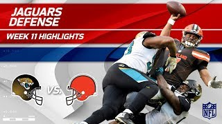 Jags Defense Gets 5 Sacks, 3 Fumble Recoveries, 2 INTs & 1 TD! | Jags vs. Browns | Wk 11 Player HLs
