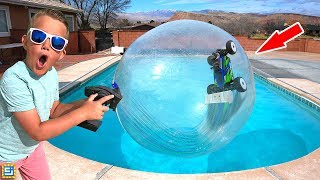 rc-car-driving-on-water-inside-giant-bubble-ball