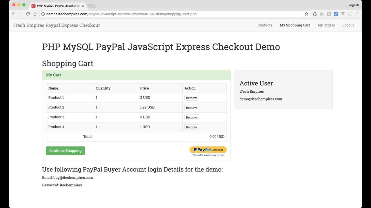 PayPal JavaScript Express checkout Integration in PHP MySQL