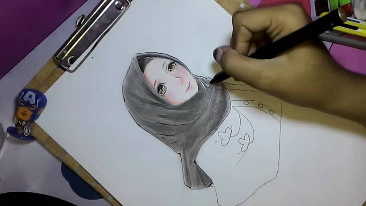 Coloring anime hijab speed draw