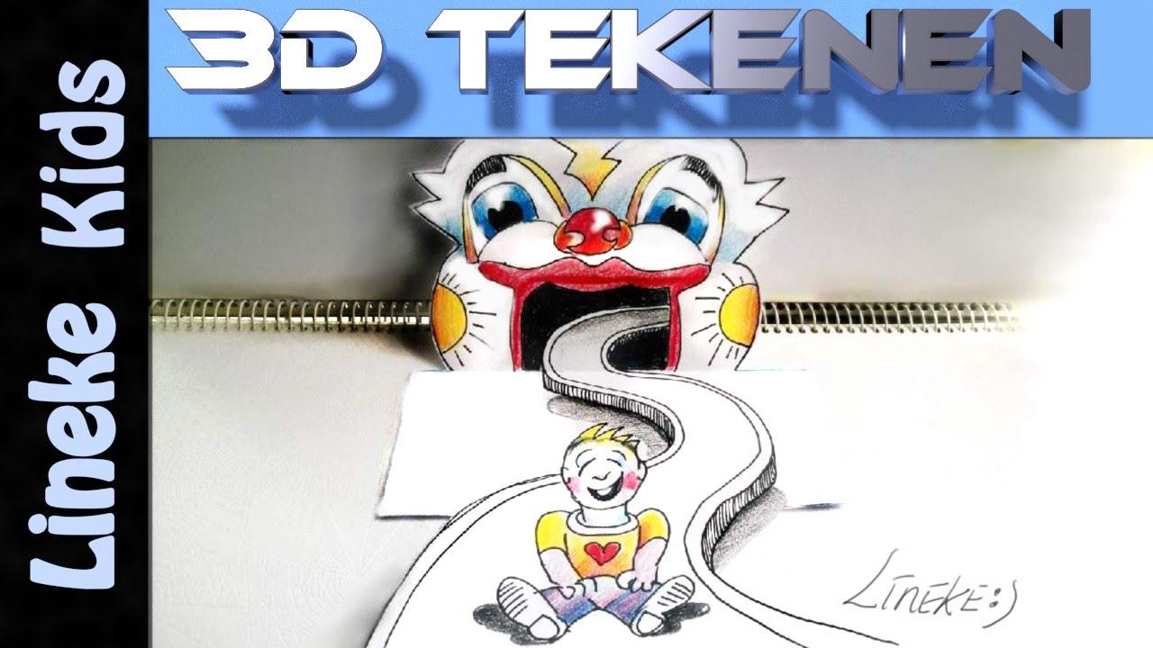 Super leuk pretpark met glijbaan tekenen 3d effect for Tekenen in 3d