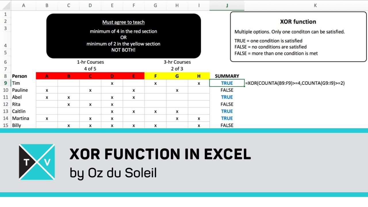 XOR Function in Excel   Exclusive OR   Excel Tips and Tricks