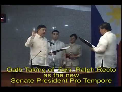 Oath Taking of Sen Ralph Recto as Senate President Pro ...