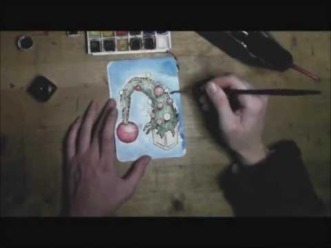 Aquarell Weihnachtskarten Selber Machen YouTube