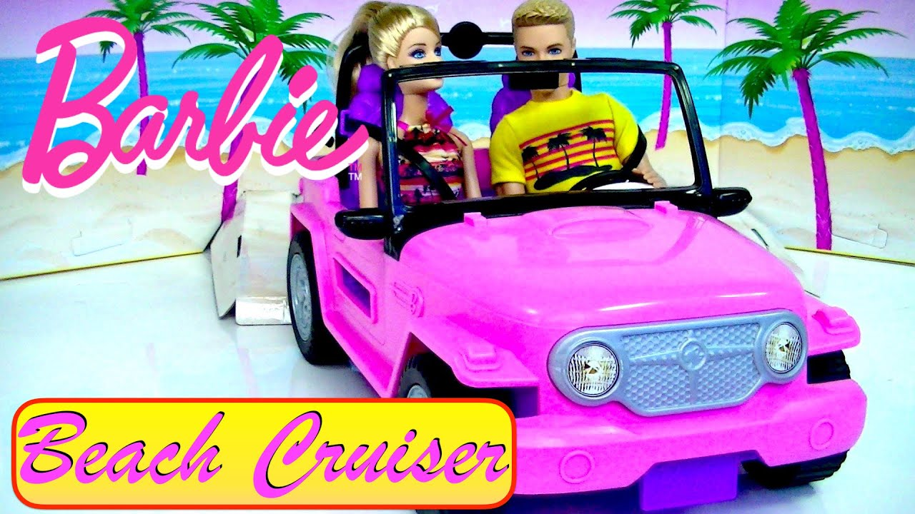 Barbie Beach Cruiser Vehicle with Barbie and Ken Dolls - Kids' Toys