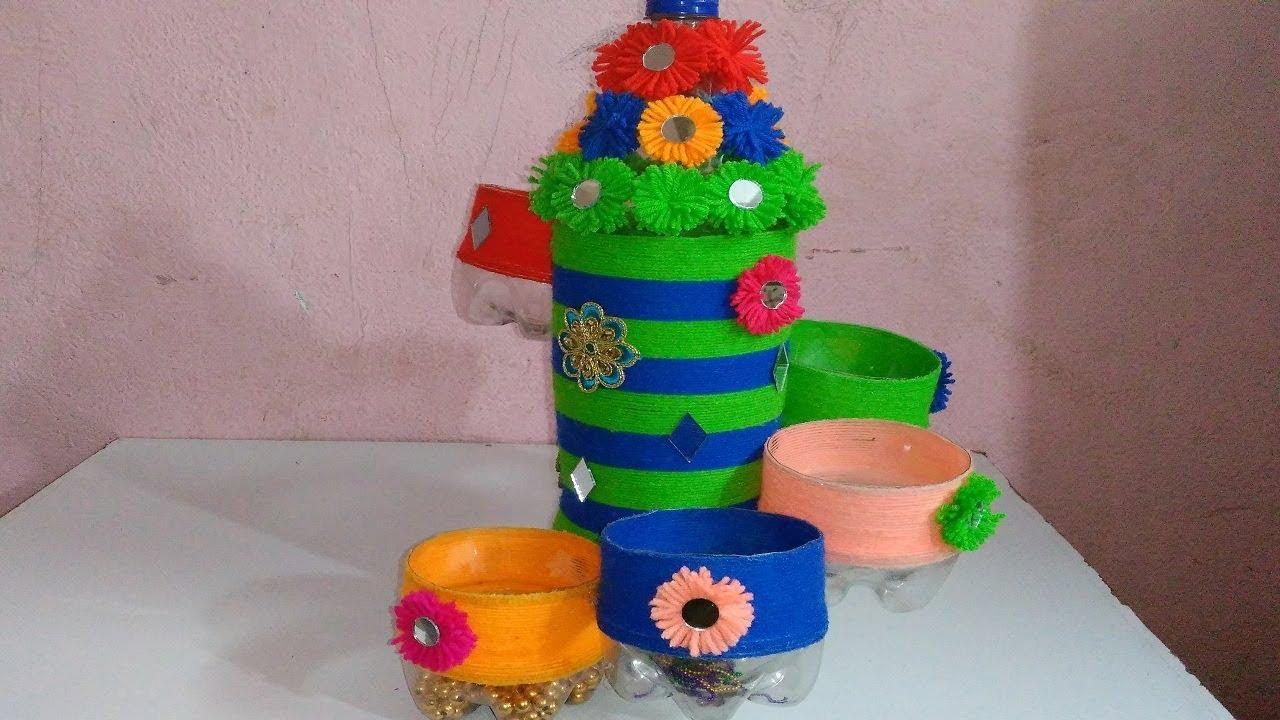 Empty Plastic Bottle Vase Making Craft Water Bottle Recycle Flower Vase Art Decoration Ideas