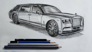 How To Draw Rolls Royce Phantoms 2020 Step By Step Very Easy Youtube