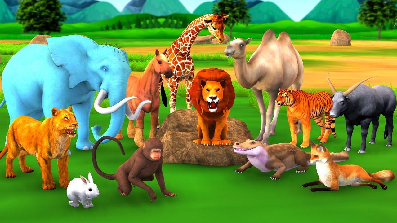 लालची शेर घमंडी बंदर लोमड़ी खरगोश हिरन और हाथी नैतिक कहानी Hindi Kahaniya Moral Stories Fairy Tales