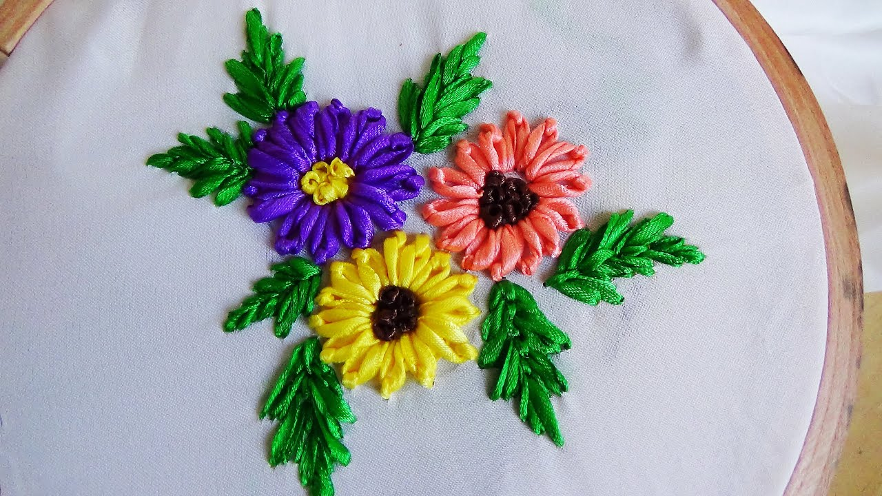 Hand Embroidery Lazy Daisy Flower In Ribbon Work  YouTube