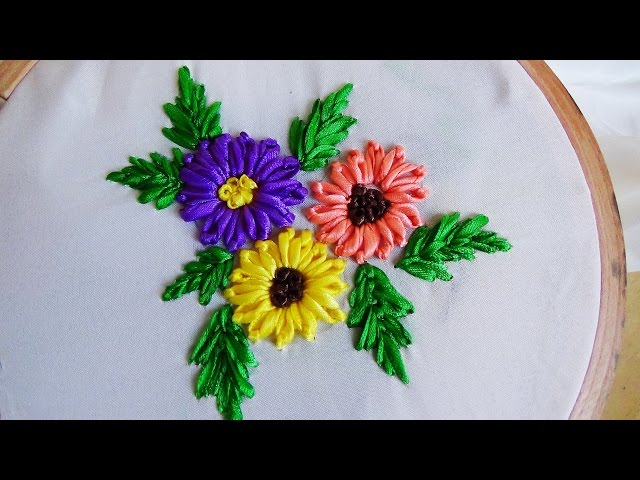 Hand Embroidery Lazy Daisy Flower In Ribbon Work Ytube Brasil
