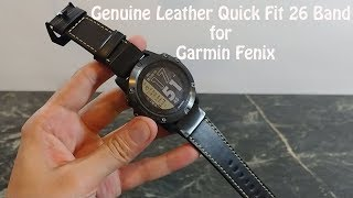 Garmin Fenix Genuine Leather Quick Fit 26 Band For Garmin Fenix 5x  HR 5X Plus