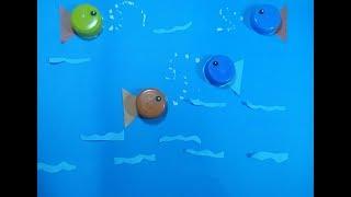 bottle cap fish art - Brilliant Ways To Reuse Plastic Bottles lids-fish origami by TrendyCraft