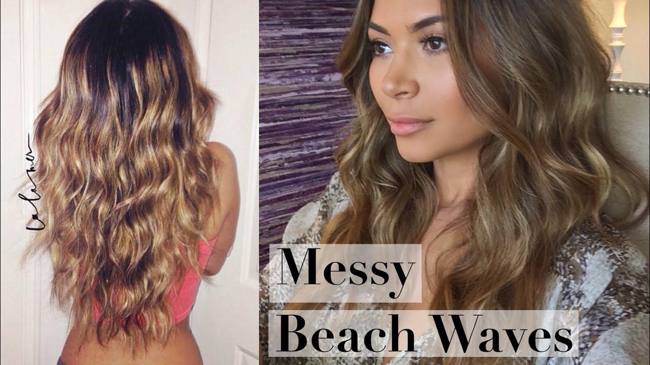 messy beach waves curls hair tutorial