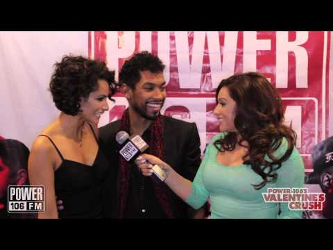Rikki Martinez talks with Miguel backstage at Valentine's Crush 2014