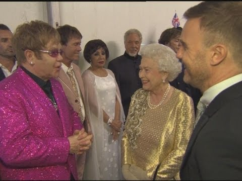 Elton John and the Queen poke fun at Gary Barlow backstage at the Diamond Jubilee concert