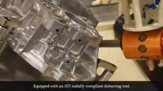 Robotic deburring of an aluminum transmission housing
