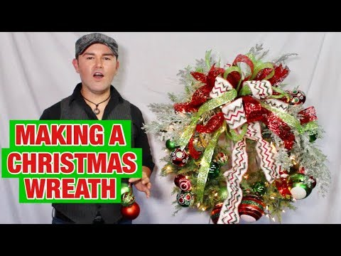 Making A Christmas Wreath With 3 Ribbons /Easy Christmas Wreath Tutorial (2018)