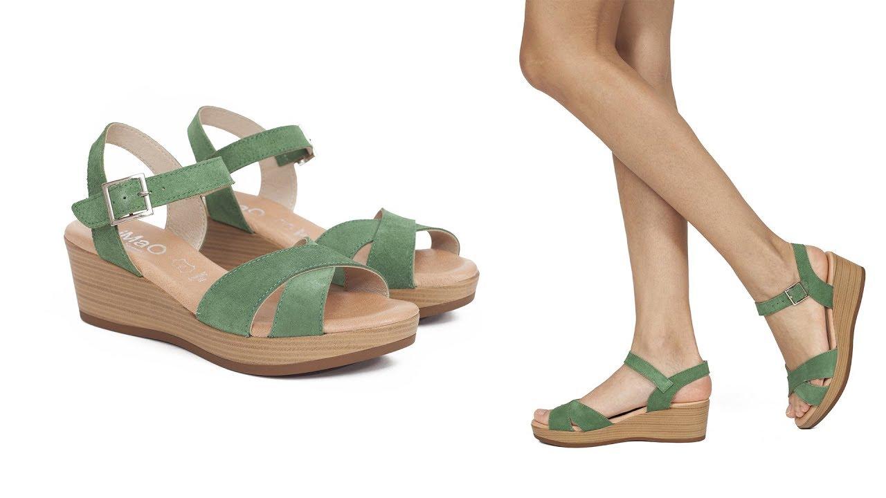 b2ce206b8ce La sandalia de piel con cuña más cómoda con plantilla confort gel ...