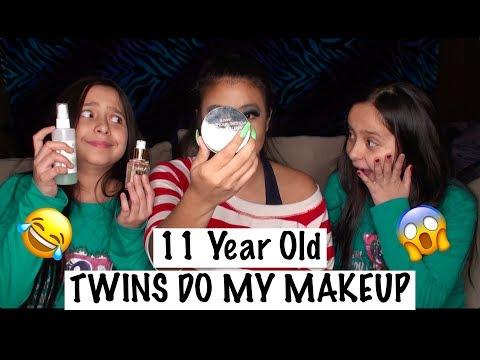 11 YEAR OLD TWINS DO MY MAKEUP 😱 | April Sunday