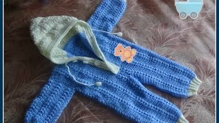 Комбинезон для малыша 0-6 месяцев крючком. Часть 2. Jumpsuit for baby 0-6 months crocheted.(Вяжем крючком комбинезон для малыша. Размер - 0-6 месяцев. Высота комбинезона без капюшона 50 см., обхват талии..., 2015-01-24T19:21:33.000Z)