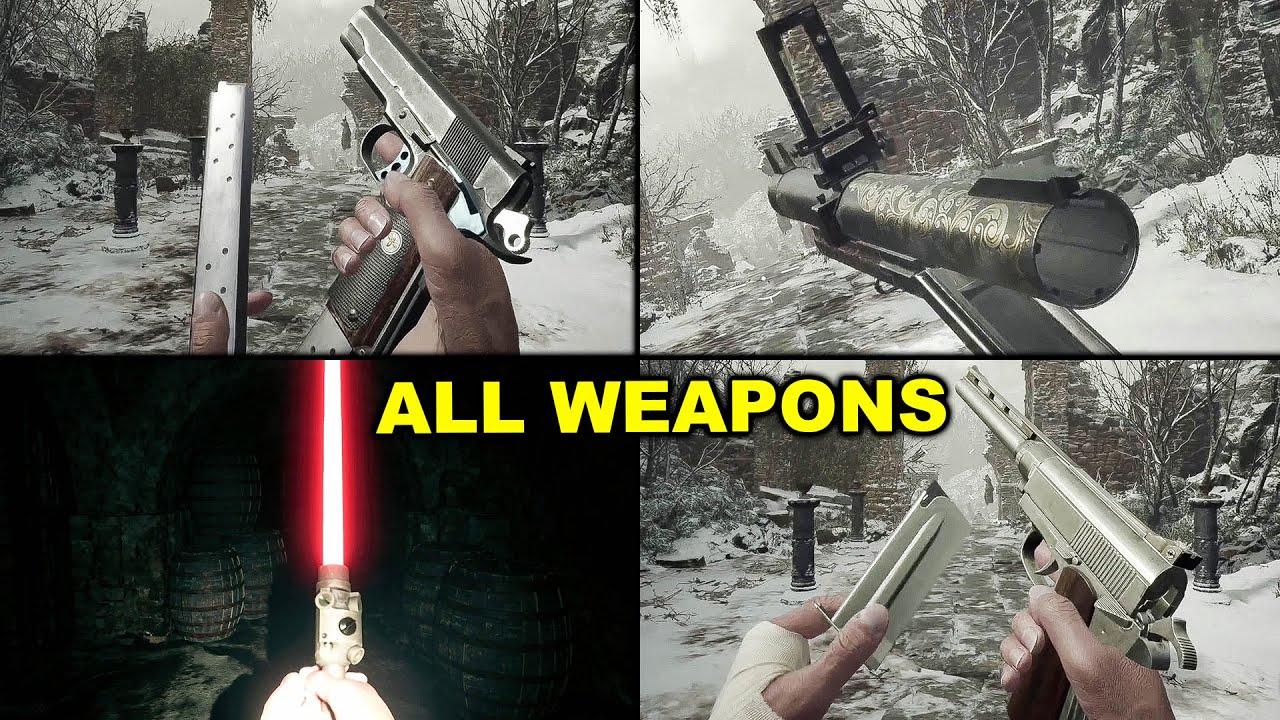Download Resident Evil Village - All Weapons Showcase (Rocket Pistol, Lightsaber, Dragoon, Samurai Edge, etc)