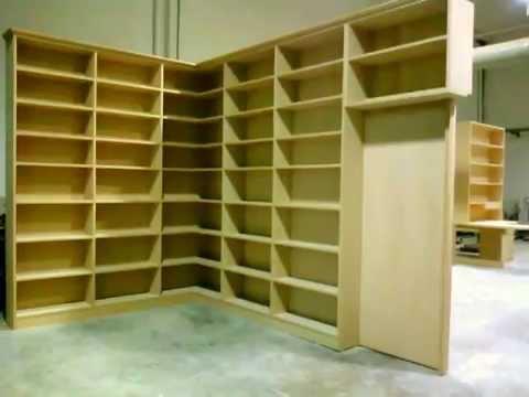 libreria solo libri ad angolo con porta a scorrere - YouTube